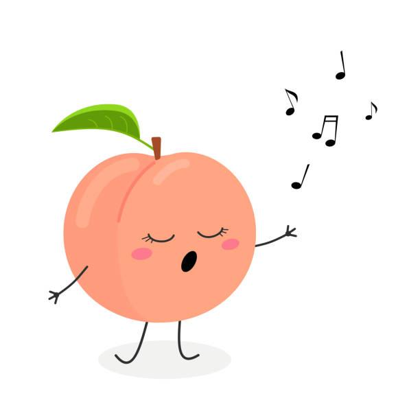 illustrazioni stock, clip art, cartoni animati e icone di tendenza di funny cartoon peach singer - pesche bambino