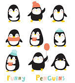 istock Funny cartoon penguins collection. Baby animals illustration 1177225132
