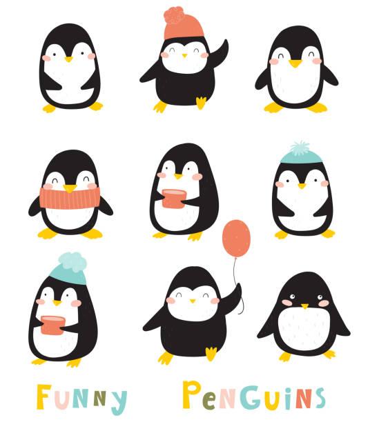 stockillustraties, clipart, cartoons en iconen met grappige cartoon penguins collectie. baby dieren illustratie - pinguins swimming