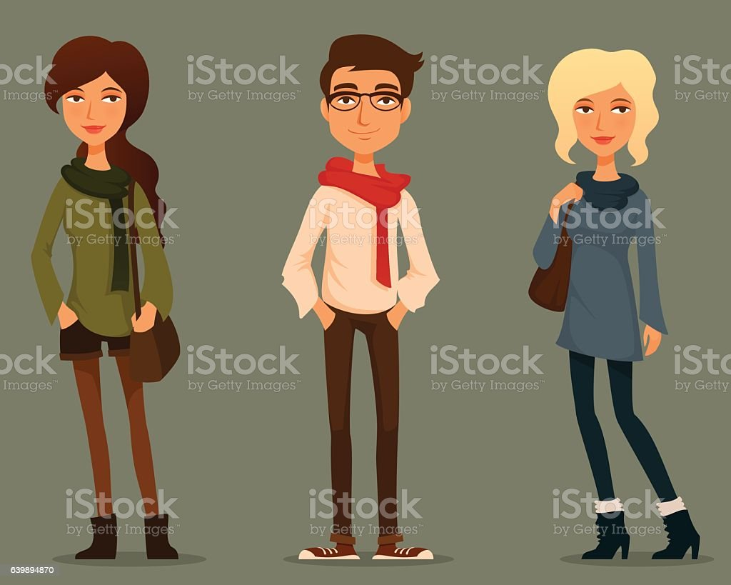 funny cartoon people in hipster fashion vector art illustration