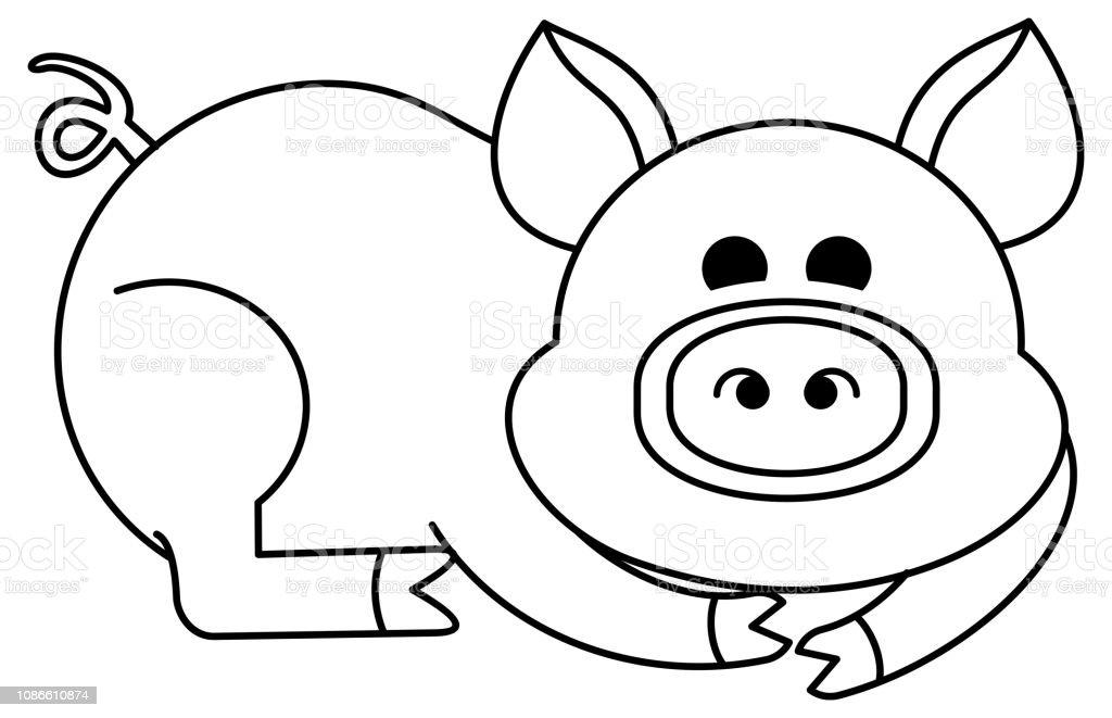 Komik Karikatur Domuz Figur Cocuklar Icin Egitim Etkinligi Stok
