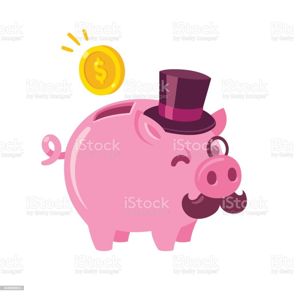 Funny cartoon piggy bank vector art illustration