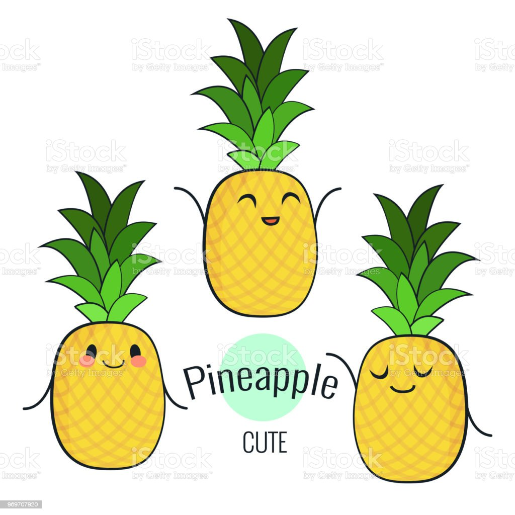 Funny Cartoon Pineapple Character With Different Emotions On The ...