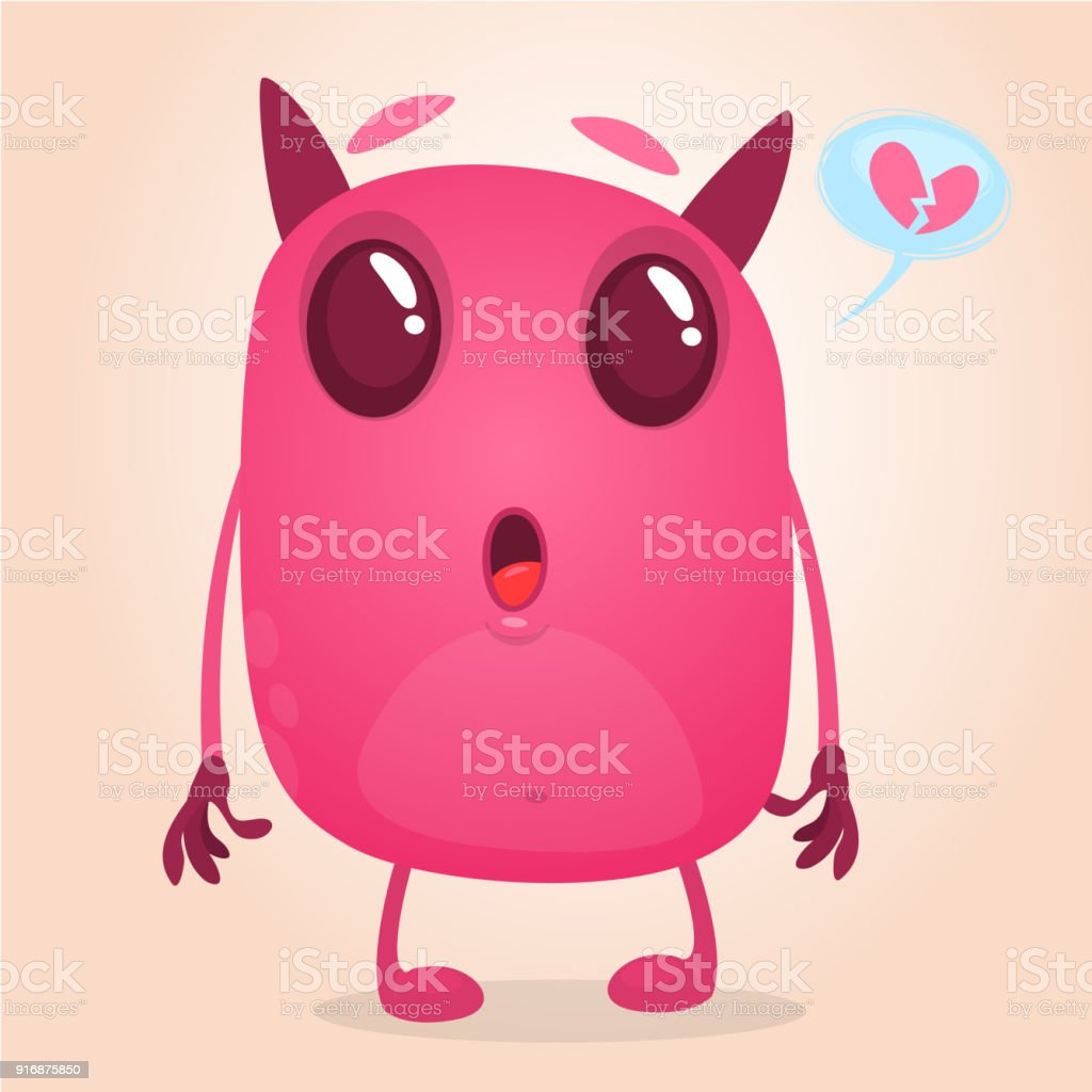 Funny cartoon pink monster in love. Vector illustration of cute monster for St.Valentine's Day vector art illustration