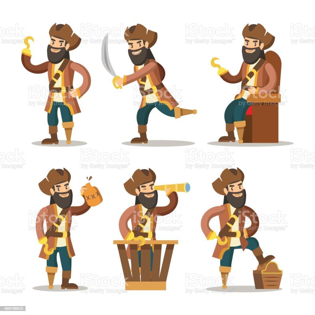 Funny Cartoon Pirate with Sword and Treasure funny cartoon pirate with sword and treasure - immagini vettoriali stock e altre immagini di adulto royalty-free