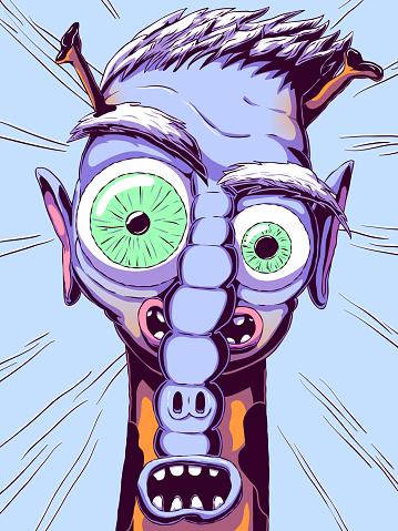 Funny cartoon portrait of a fictional character - Mutant.