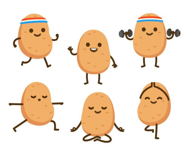 Funny cartoon potato character vector art illustration