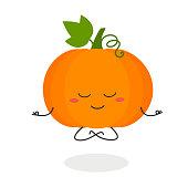 istock Funny cartoon pumpkin doing meditation 1158405748