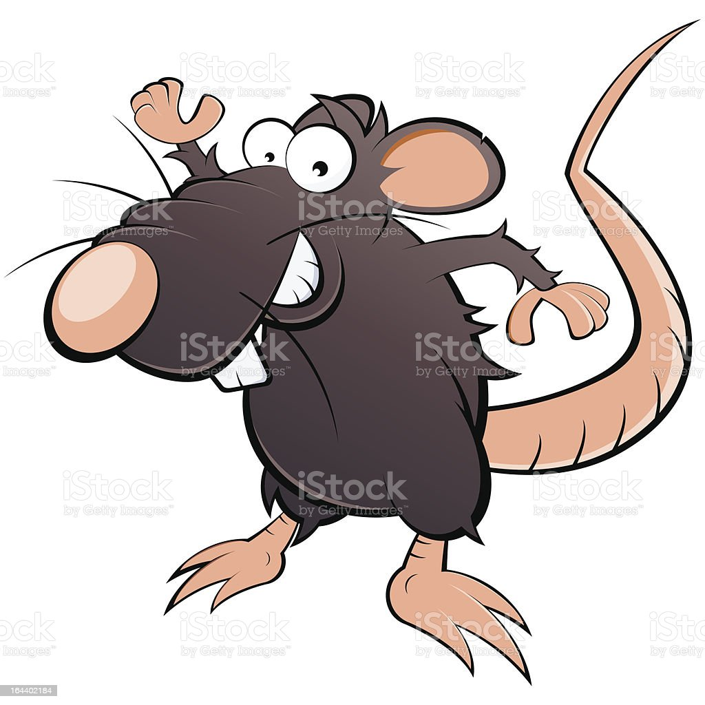 funny cartoon rat vector art illustration