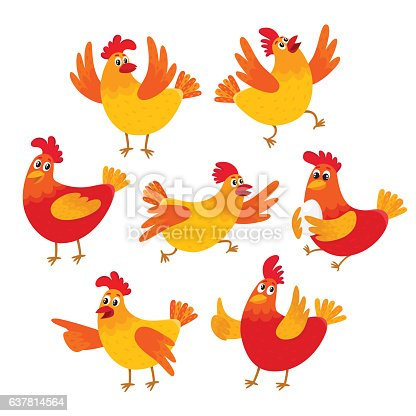 istock Funny cartoon red and orange chicken, hen in various poses 637814564