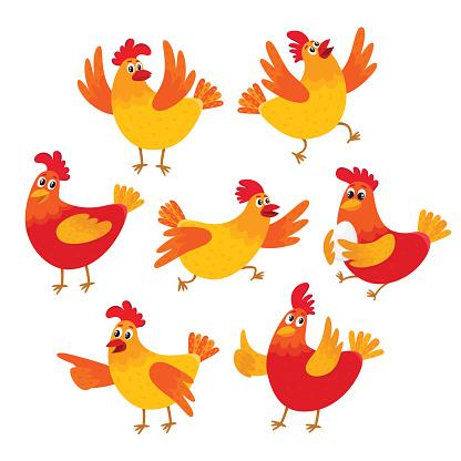Funny Cartoon Red And Orange Chicken Hen In Various Poses-vektorgrafik och fler bilder på Bildbakgrund