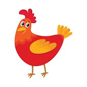 Funny cartoon red chicken, hen standing and smiling happily