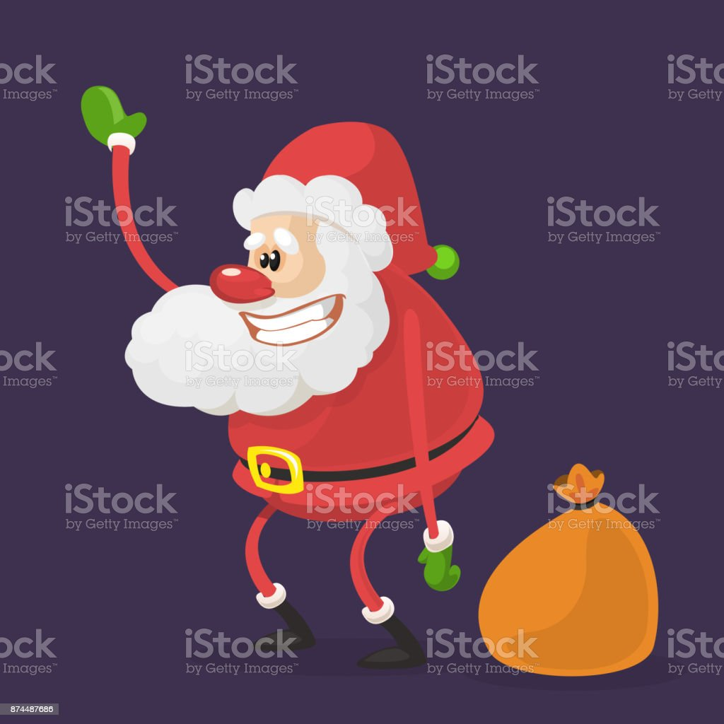 Funny Cartoon Santa Claus Character With A Brown Bag With Gifts ...