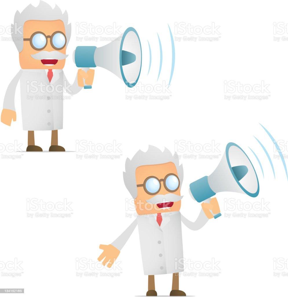 funny cartoon scientist with a megaphone vector art illustration