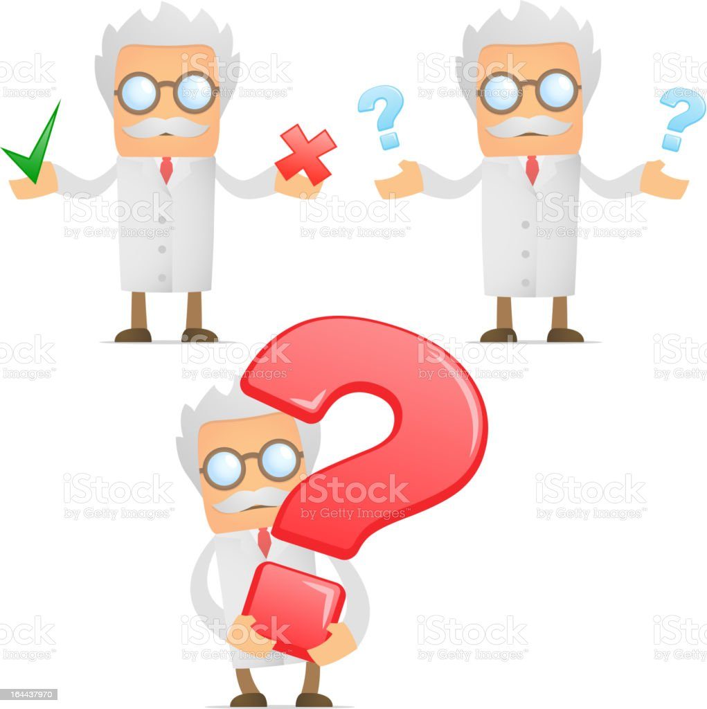 funny cartoon scientist with a question mark royalty-free stock vector art