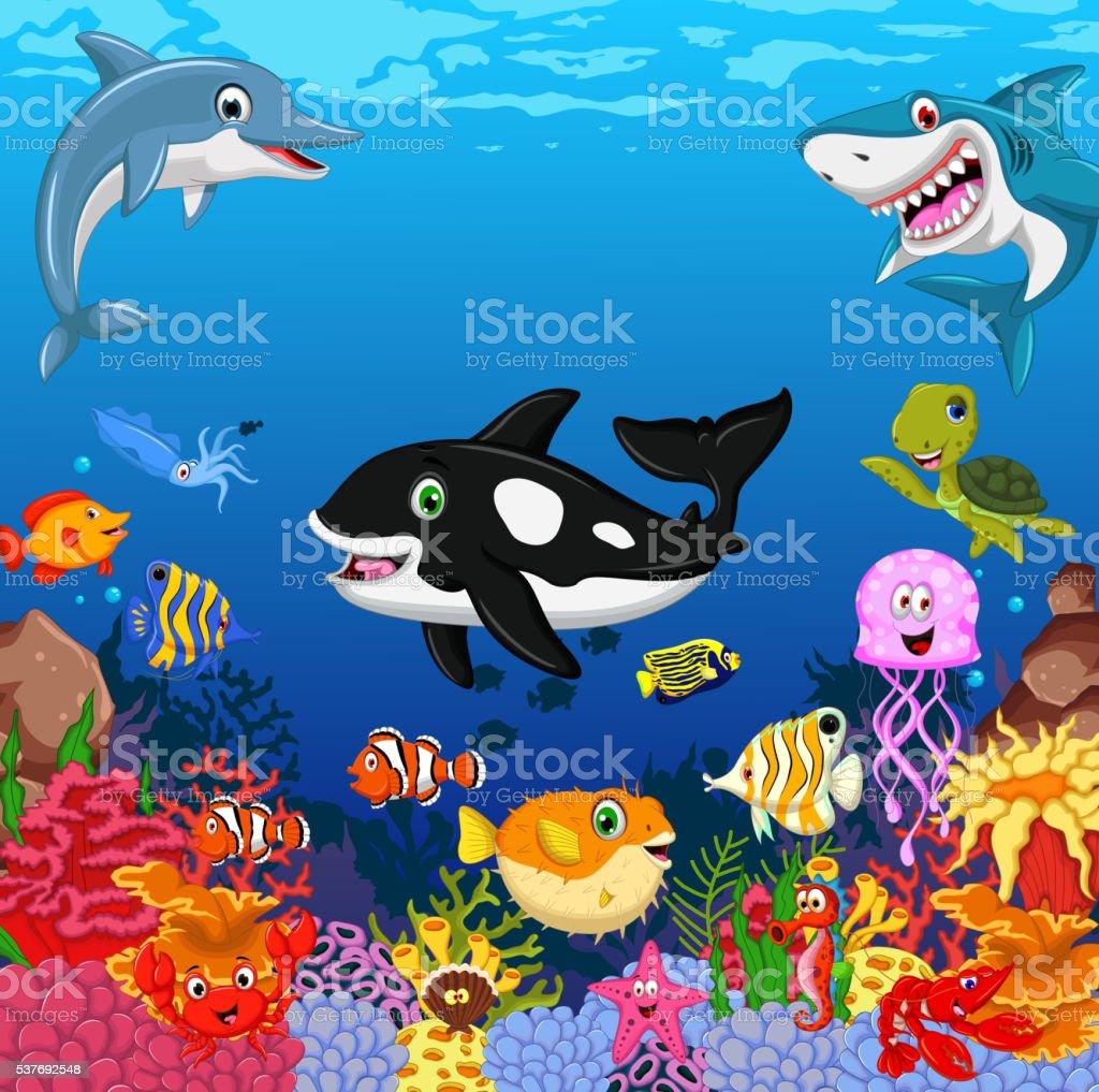 funny cartoon sea life for you design vector art illustration