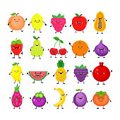 Funny cartoon set of different fruits. Smiling peach, lemon, mango, watermelon, cherry, apple, pineapple, raspberry, strawberry, orange, dragon fruit mangosteen banana plum, pomegranate, persimmon, papaya, figs.   Vector illustration isolated on white background
