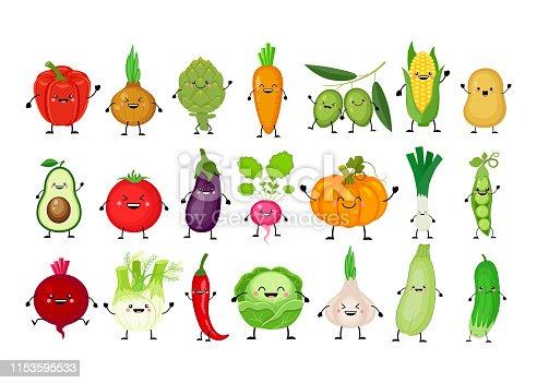 Funny cartoon set of different vegetables. Kawaii vegetables. Smiling pumpkin, carrot, eggplant, bell pepper, tomato, avocado, artichoke, cabbage, fennel, onion, garlic, cucumber, peas, potato