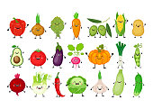 Funny cartoon set of different vegetables. Kawaii vegetables. Smiling pumpkin, carrot, eggplant, bell pepper, tomato, avocado, artichoke, cabbage, fennel, onion, garlic, cucumber, peas, potato