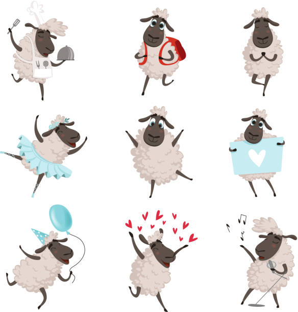 stockillustraties, clipart, cartoons en iconen met grappige cartoon sheeps in verschillende poses van de actie - schaap