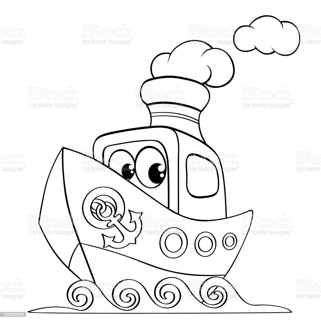 Komik Karikatur Gemi Boyama Kitabi Icin Siyah Ve Beyaz Vektor