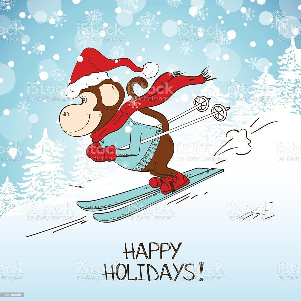 Картинки с обезьянами на лыжах