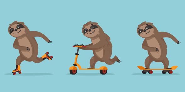 Funny cartoon sloth.