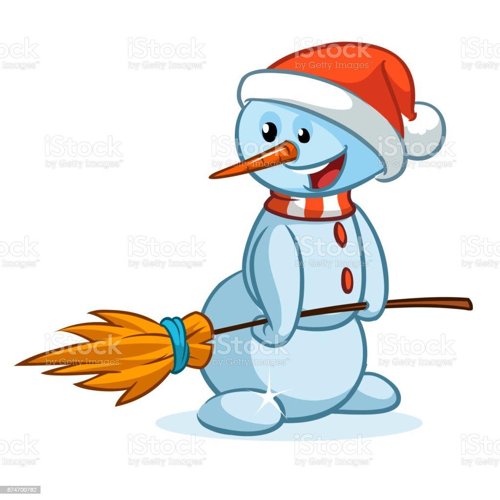Lustige Cartoon Schneemann Mit Hut Und Besen Weihnachten Schneemann ...