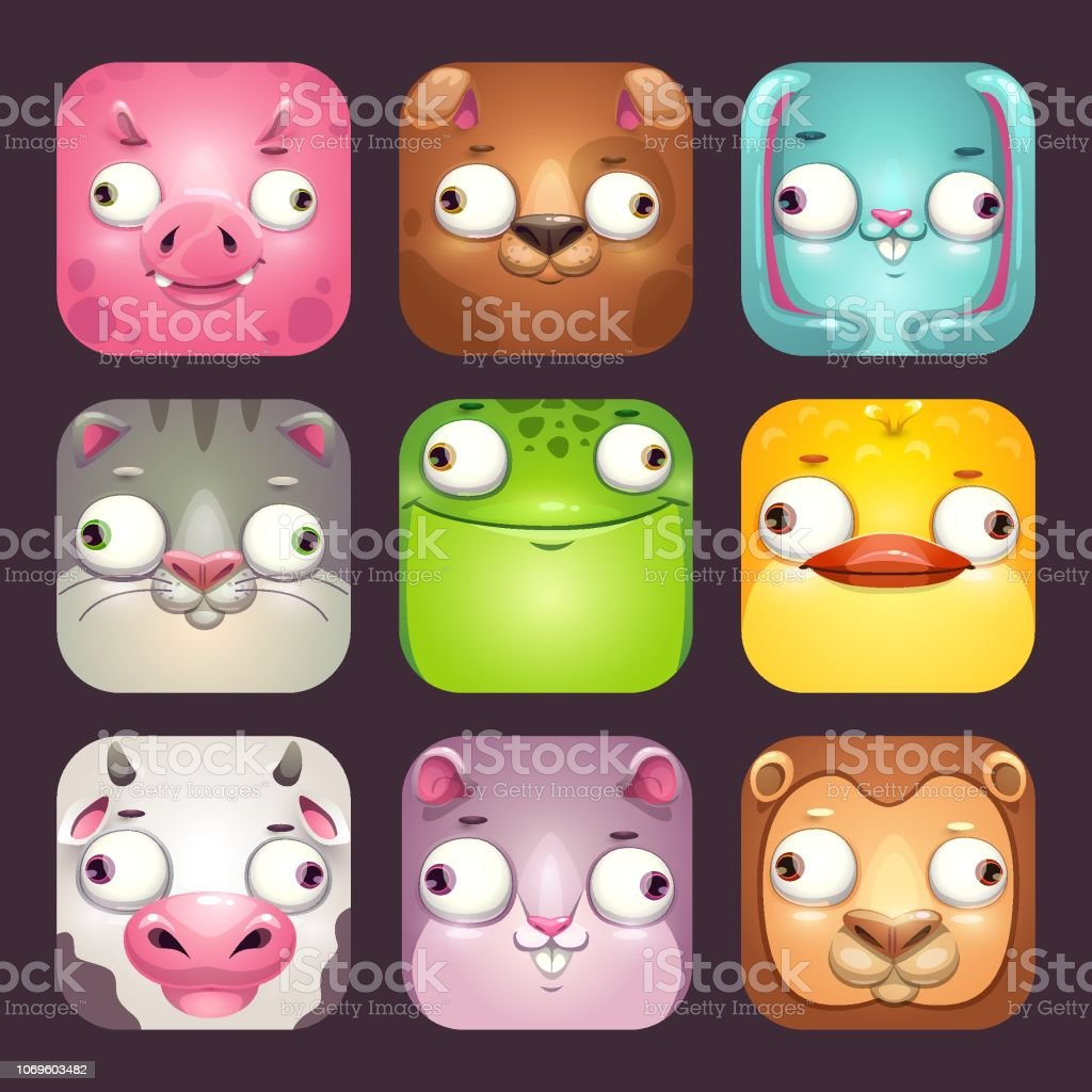 Funny Cartoon Square Animal Faces App Icons Set For Childish