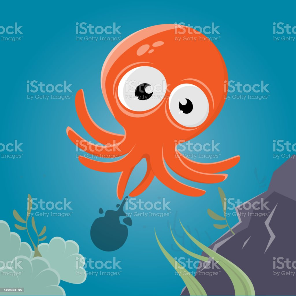 funny cartoon squid vector art illustration