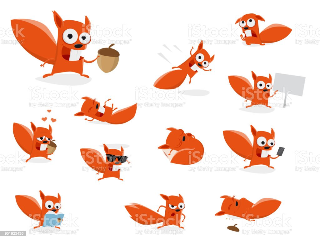 funny cartoon squirrel clipart collection vector art illustration