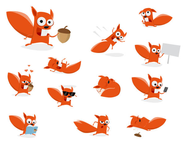 Cartoon Pic Of Squirrel: Royalty Free Jumping Squirrel Clip Art, Vector Images