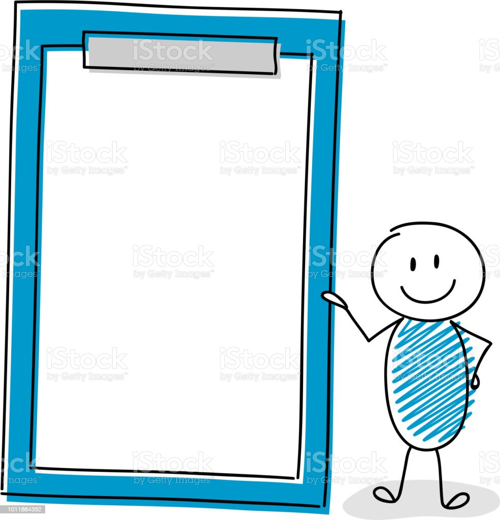 Funny cartoon stickman showing  clipboard with copyspace. Vector. vector art illustration