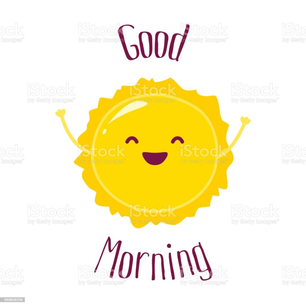 Lustige Karikatur Sonne wirft Hände hoch und lächelt. Guten Morgen Karte. Flachen Stil. Vektor-Illustration. – Vektorgrafik