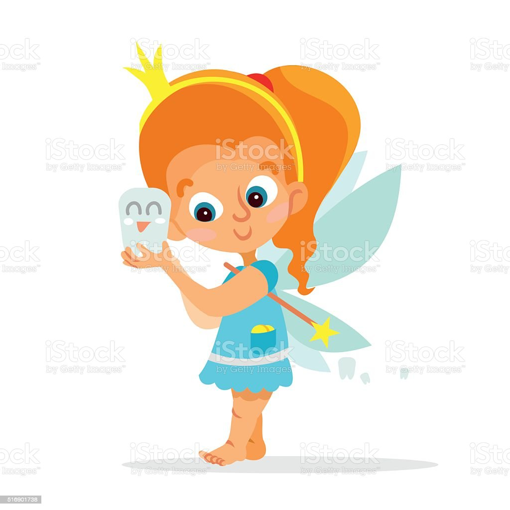 funny cartoon tooth fairy holding tooth stock vector art 516901738