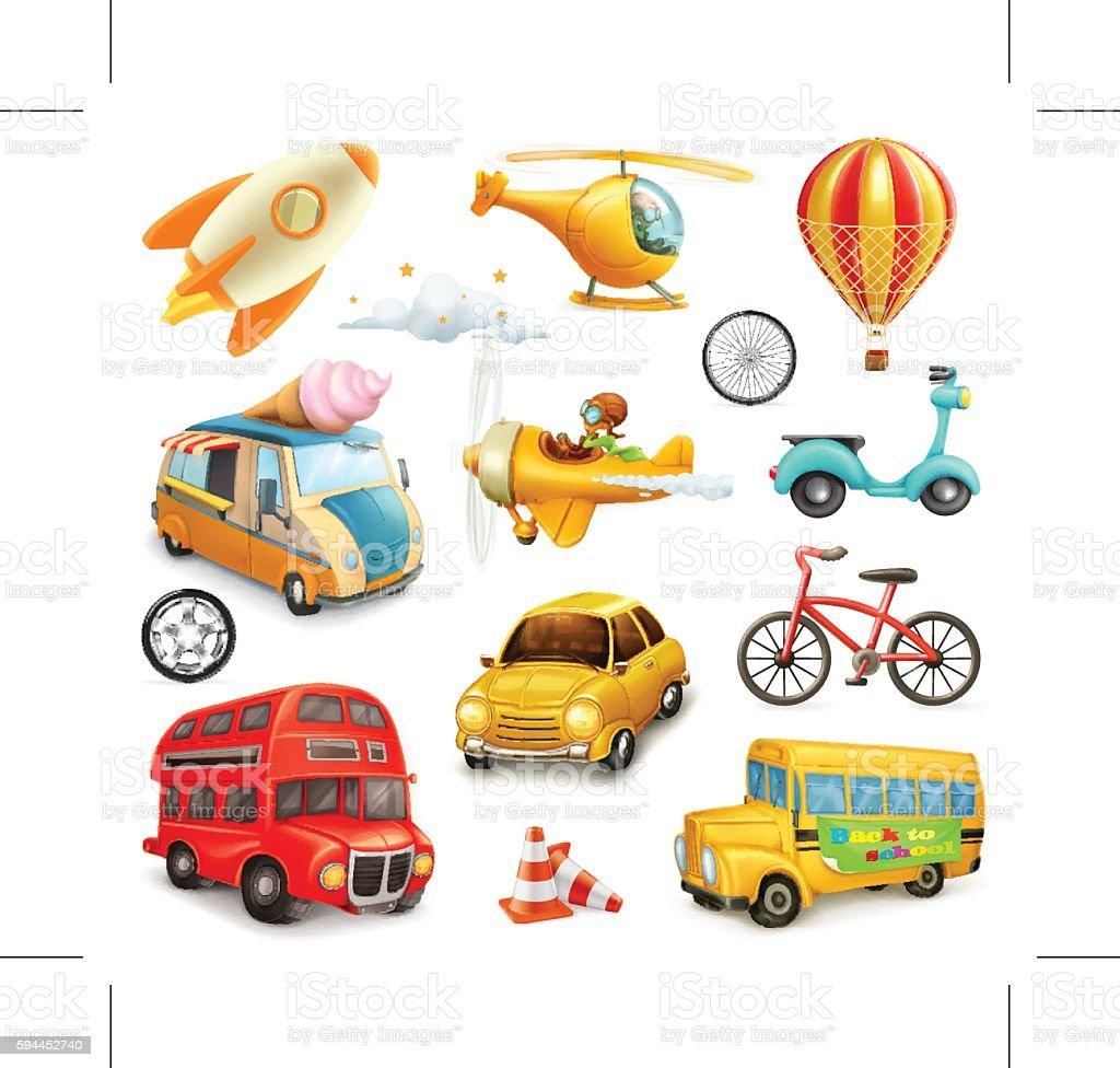 Funny cartoon transportation, cars and airplanes set of vector icons - ilustração de arte em vetor
