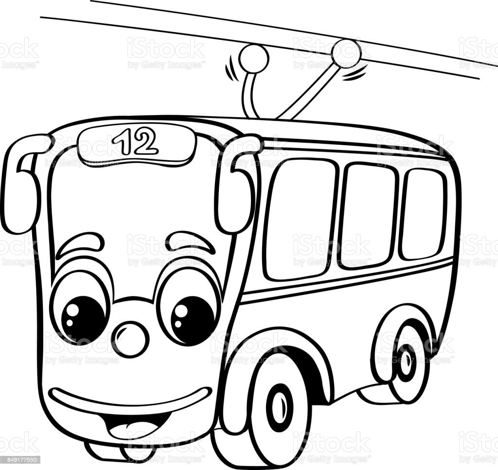 Ilustración De Trolebús De Divertidos Dibujos Animados Ilustración