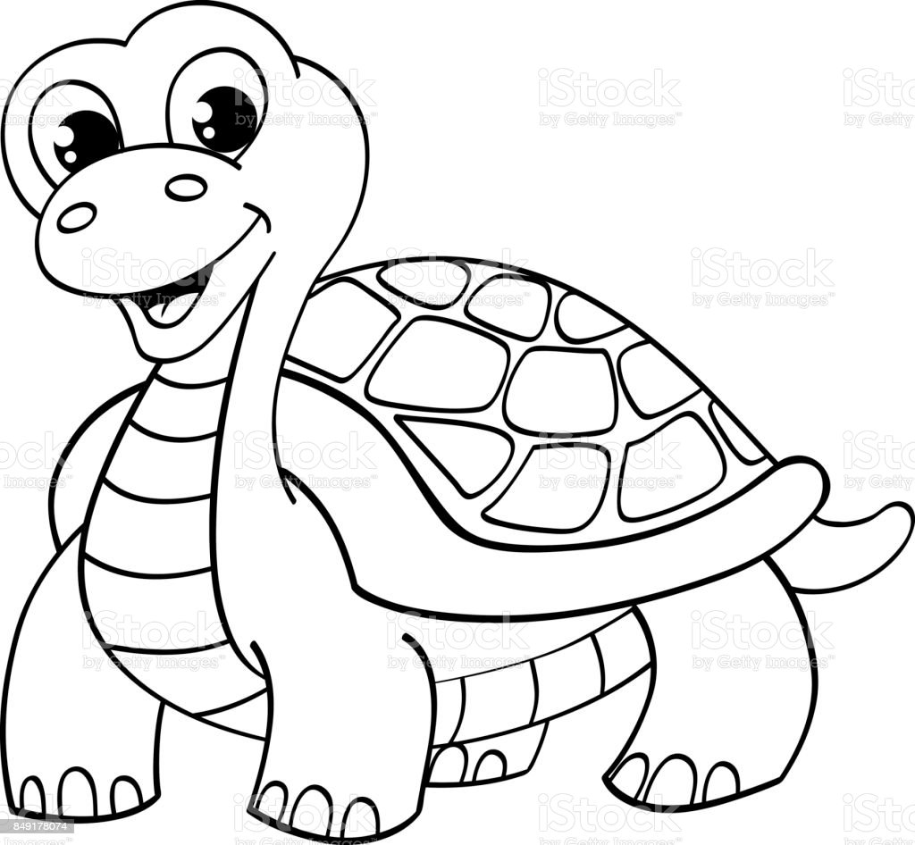 Funny Cartoon Turtle Black And White Illustration For Coloring Book ...
