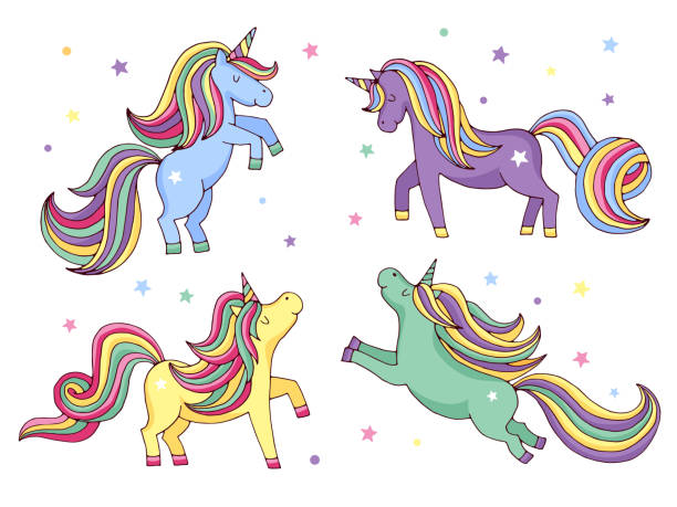 funny cartoon unicorn. vector illustrations set isolate on white background - pony stock illustrations