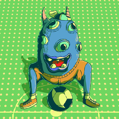 Funny cartoon vector illustration of a fictional character - Soccer player.