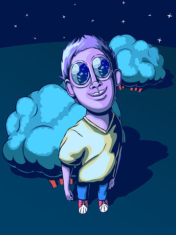 Funny cartoon vector illustration - The guy is looking at the moon and stars.