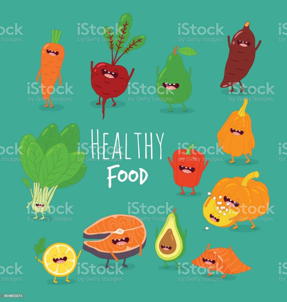 funny cartoon vegetable , healthy food vector art illustration