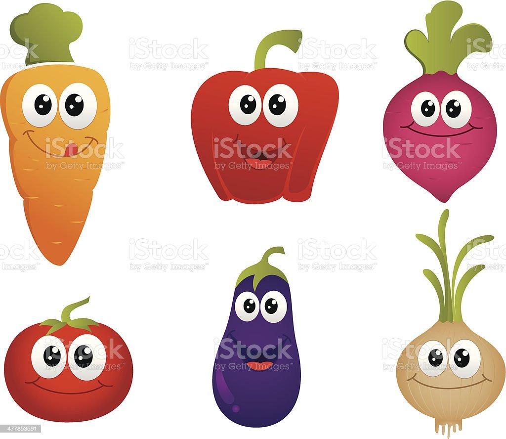 funny cartoon vegetable , tomato,beet, onion ,carrot,paprika,eggplant. vector art illustration