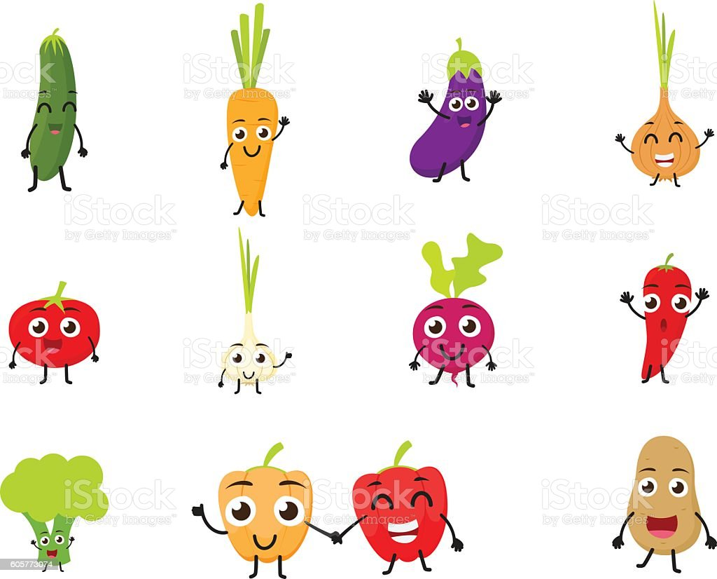 Funny Cartoon Vegetables vector art illustration