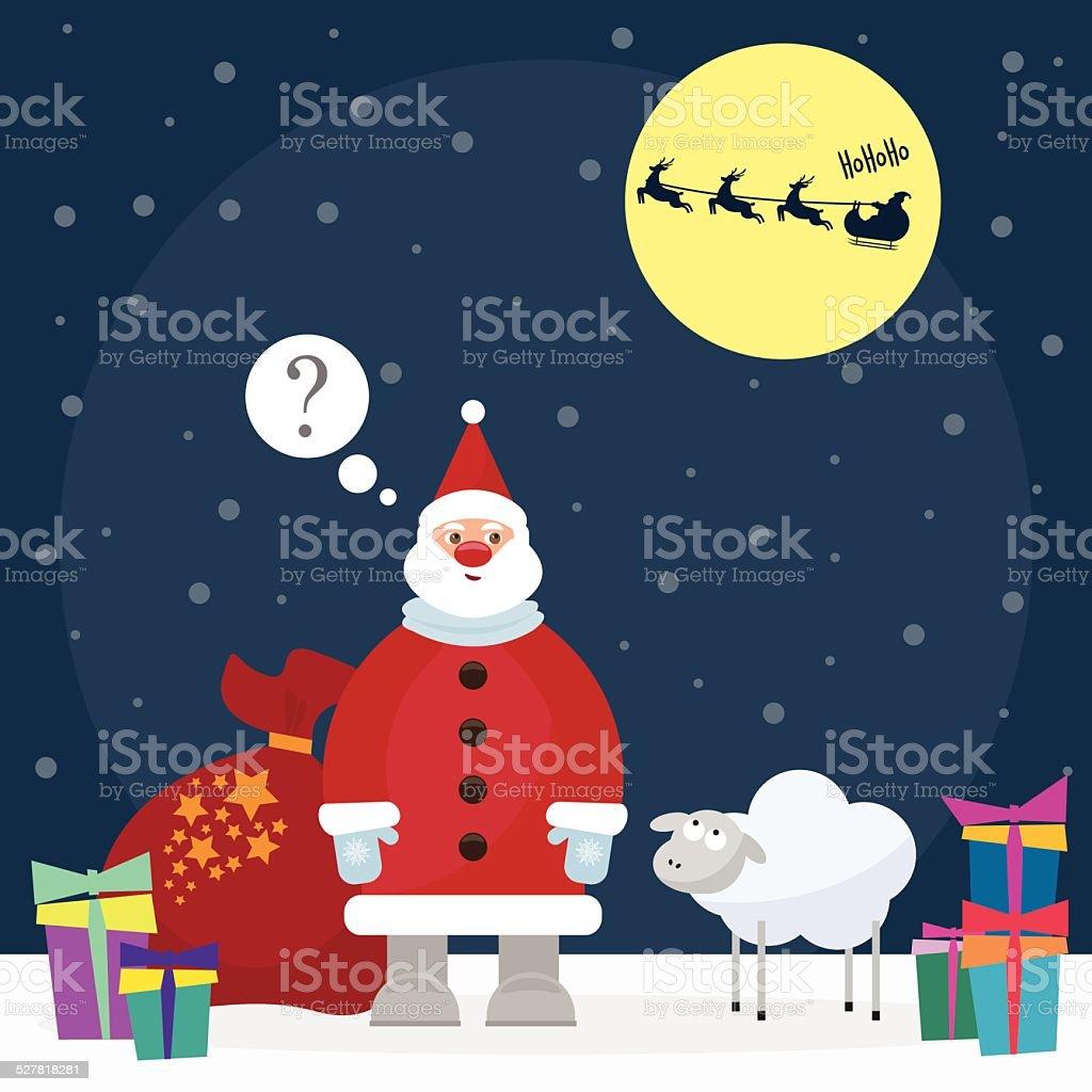 Lustiger Comic Winter Urlaub Hintergrund Mit Santa Und Niedlichen