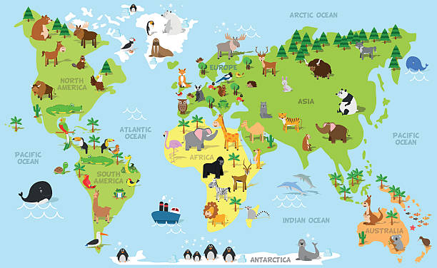 Funny cartoon world map with animals vector art illustration