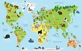 Funny cartoon world map with animals