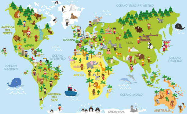 illustrazioni stock, clip art, cartoni animati e icone di tendenza di funny cartoon world map with childrens of different nationalities, animals and monuments of all the continents and oceans. names in spanish. vector illustration for preschool education and kids design. - spagnolo lingua