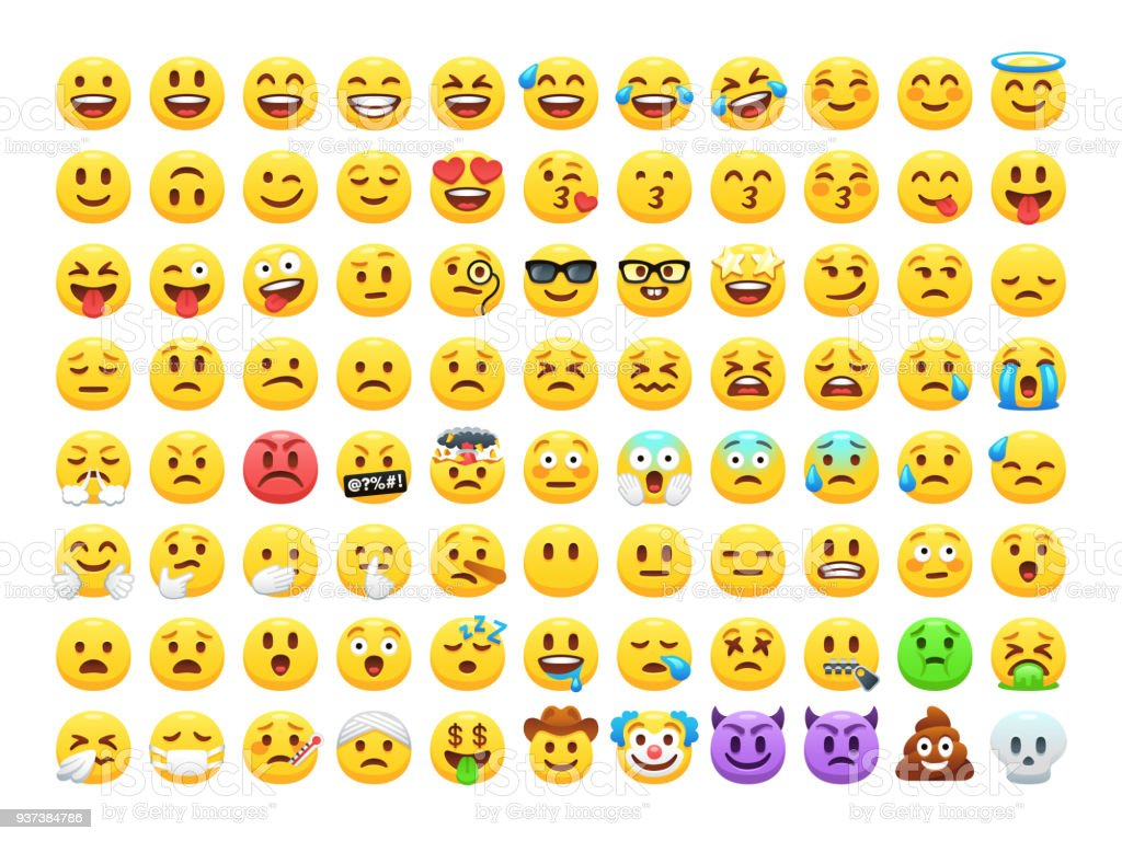 Funny cartoon yellow emoji and emotions icon collection. Mood and facial emotion icons. Crying, smile, laughing, joyful, sad, angry and happy faces, emoticons vector set.