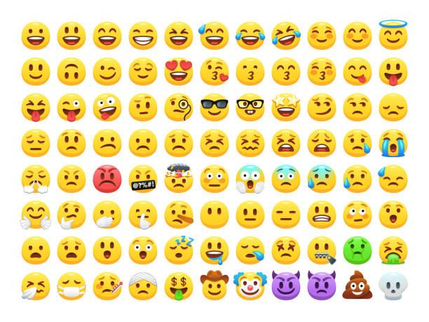 面白い漫画黄色の絵文字や感情アイコンのコレクション。気分と顔の感情アイコン。泣いて、笑って、楽しい、悲しい、怒っている、笑顔し、幸せそうな顔、顔文字ベクトル セット。 - 笑顔点のイラスト素材/クリップアート素材/マンガ素材/アイコン素材